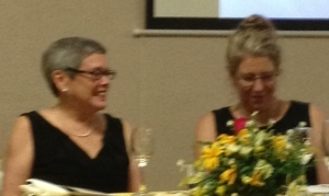 Anne and her friend and Fonkoze USA Director Leigh Carter seated at the head table